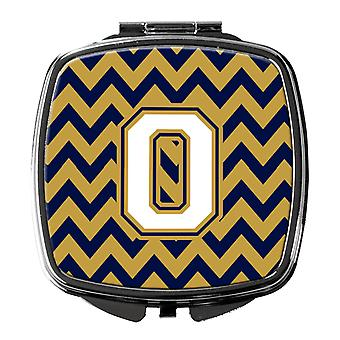 Letter O Chevron Navy Blue and Gold Compact Mirror