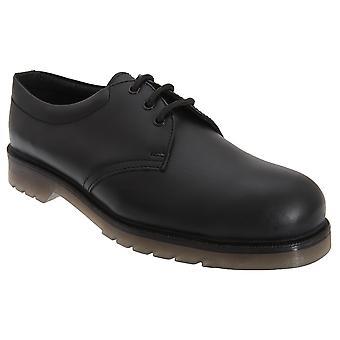 Grafters Mens Uniform glatt skinn sikkerhet Toe Cap sko