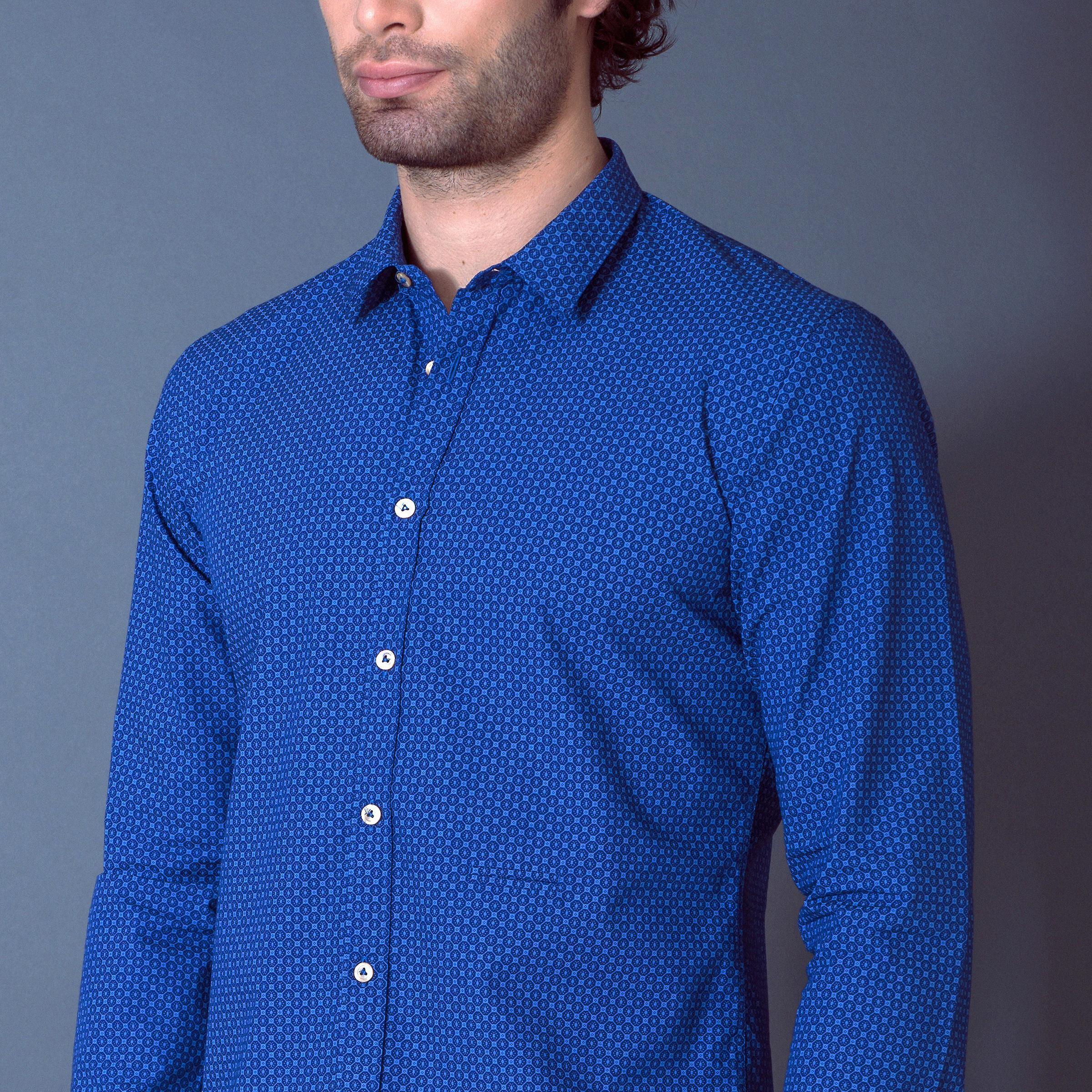 Fabio Giovanni Navoli Shirt - Mens Italian Casual Stylish Shirt 100% Cotton - Long Sleeve