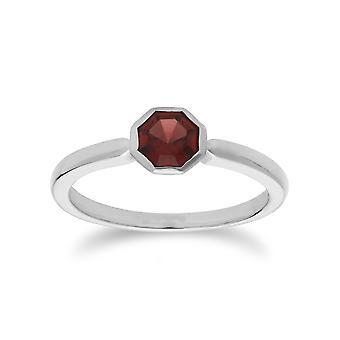 Geometrische Sechseck Granat Lünette Set Ring in 925 Sterling Silber 270R055702925
