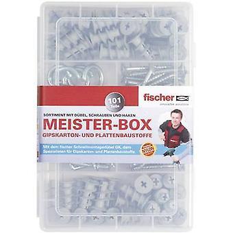 Fischer 513892 Meister-Box con tacos GK, tornillos, ángulo y ganchos redondos Contenido 101 Piezas