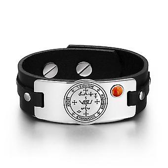 Aartsengel Michael Sigil Magic bevoegdheden Amulet rode Jasper Gemstone verstelbare zwart lederen armband