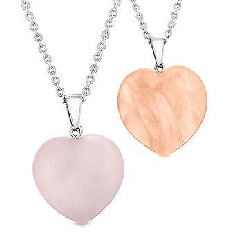 Amulettes chanceux coeurs gonflés amour Couples meilleures amies simulant Quartz cerise Quartz Rose colliers