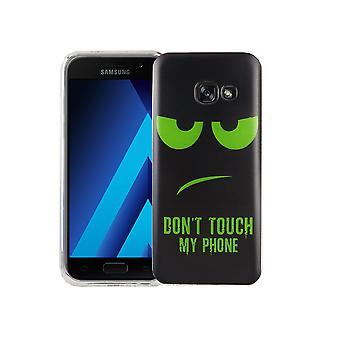 Mobile tilfældet for Samsung Galaxy A3 2017 dækning case beskyttende taske motiv slim TPU + rustning beskyttelse glas 9 H ikke røre min telefon Grün
