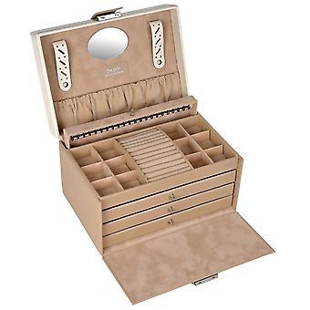 Sacher smykker tilfelle smykker boks BELLA FIORE Brown låsbare skuffer