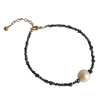 Diamond bracelet with Pearl diamond and pearl bracelet black gold plated