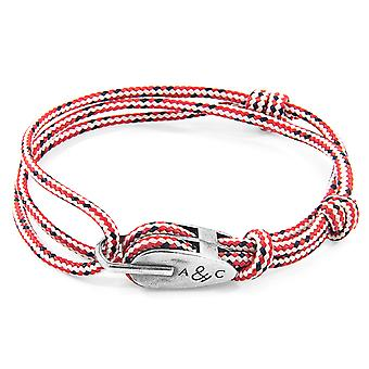 Anchor & Crew Red Dash Tyne Silver and Rope Bracelet