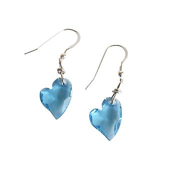 Damen Herz Ohrringe 925 Silber Devoted 2 U *Aquamarin* Blau MADE WITH SWAROVSKI ELEMENTS® 2 cm