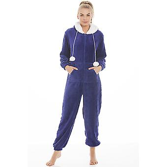 Camille blau Luxus Super Soft Fleece Kapuzen Strampler