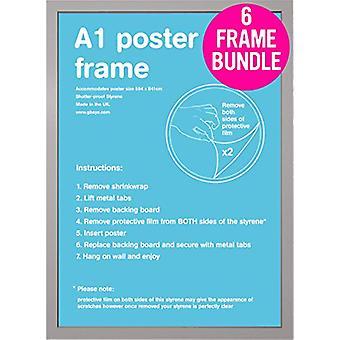 GB Posters 6 Silver A1 Poster Frames 59.4 x 84.1cm Bundle