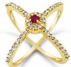 Gold Plated & Semi Precious Gems Hoop Ring - 5 (J)