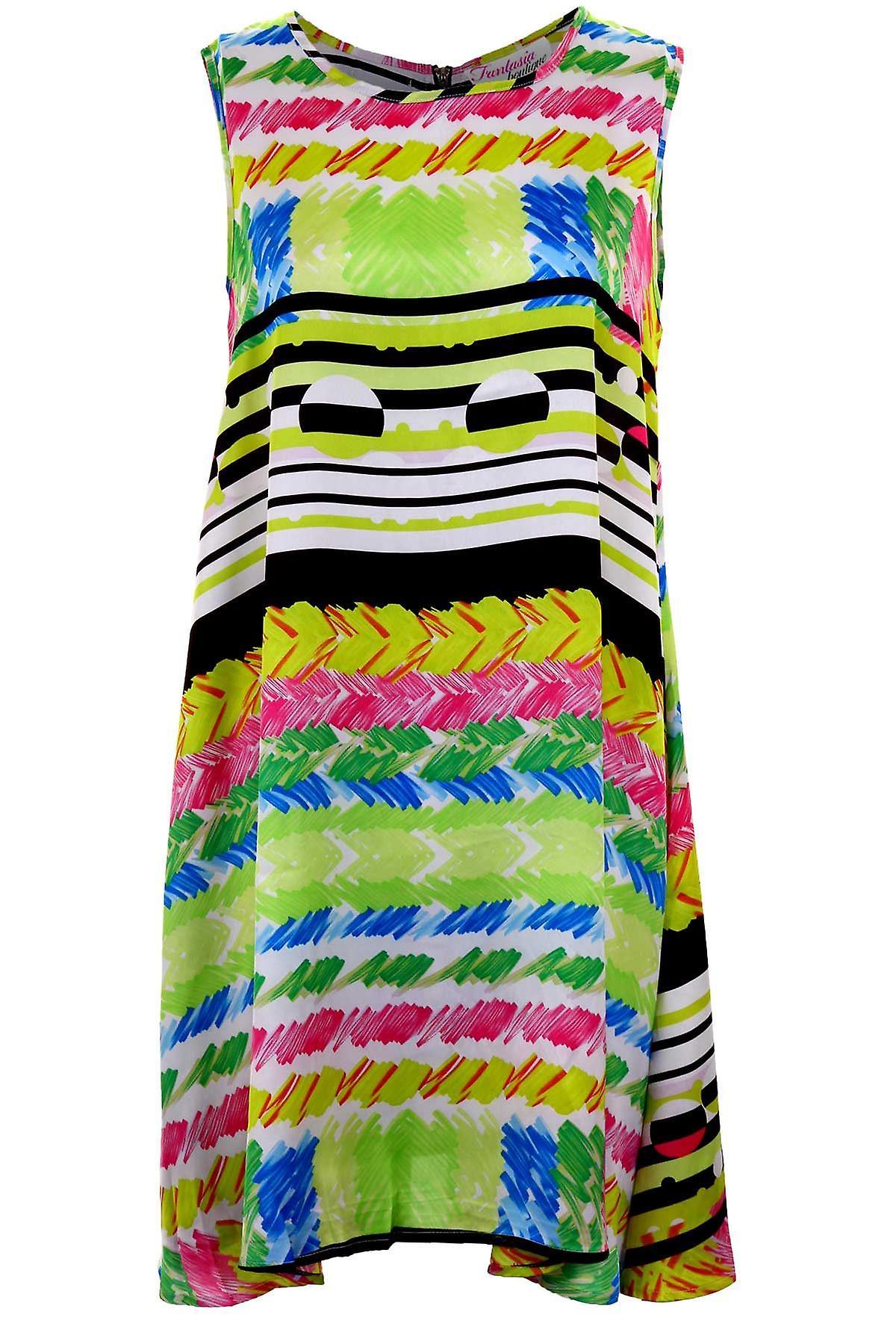 Hyvät Hihaton Line vaihto monivärinen raita tulosta naisten puolueen tunika mekko