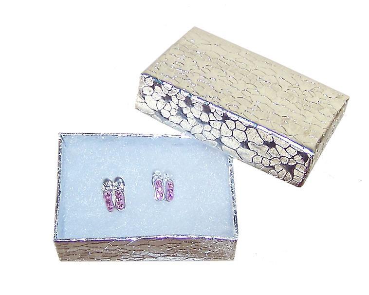 Girls pink ballet shoes crystal stud silver earrings
