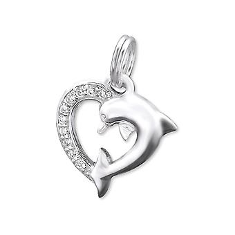 Dolphin - 925 Sterling Silver Charms With Split Ring - W29895x