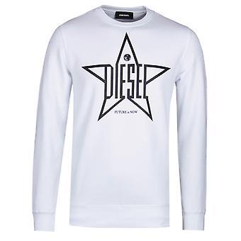 Diesel Star Logo White Sweatshirt