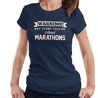 警告は、マラソンの女性の T シャツについて話し始めるかもしれない