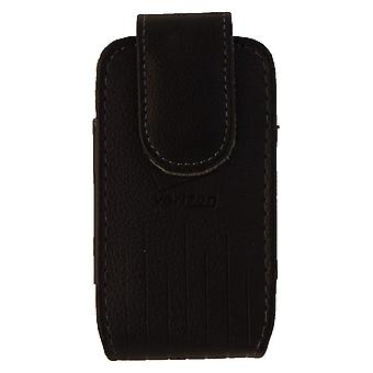Verizon Leather Standing Pouch pour Convoy 4, Exalt II, DuraXV Plus, etc - Noir