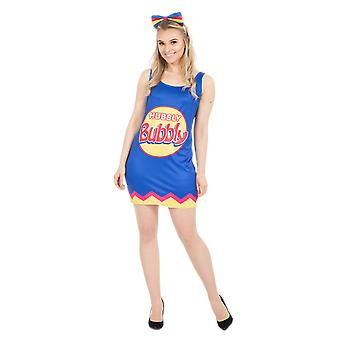 Vrouwen Blue Bubble Gum Sweet Dress Candy Food fancy dress kostuum