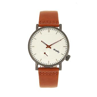 Simplify The 3600 Leather-Band Watch - Silver/Orange
