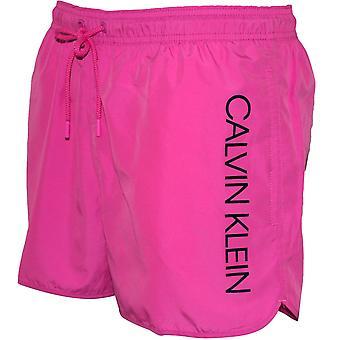 Calvin Klein Side Logo sportslige kutte badebukse, Phlox rosa