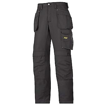 Snickers Mens Ripstop Floorlayer Workwear Trousers With Kneepad Pockets Black