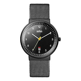 Braun analog wrist watch, Unisex stainless steel Black