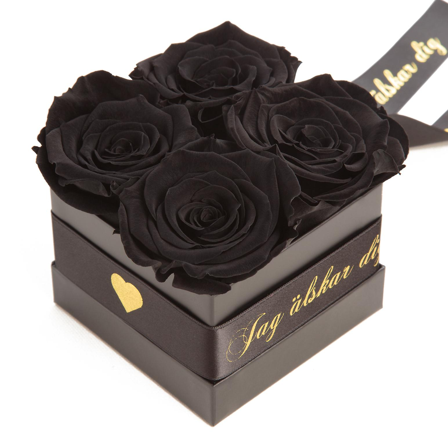 JAG älskar dig Flowerbox with 4 preserved roses black and satin ribbon shelf life 3 years