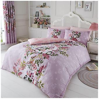 Wisteria Butterfly Birds Floral Duvet Quilt Cover Floral Bedding Set Pillow Case