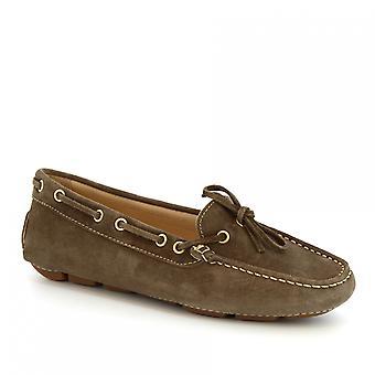 ليوناردو أحذية النساء & s قارب مصنوعة يدويا mocassins في جلد الغزال الرمادي وجلد العجل