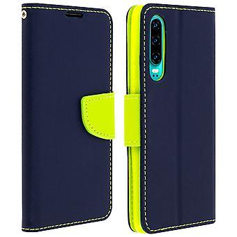 Fancy stil Cover, tegnebog sag med stativ til Huawei P30-mørkeblå