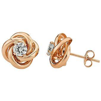 Mark Milton Knot Cubic Zirconia Stud Earrings - Rose Gold