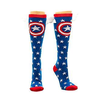 Marvel Captain America ster knie hoge sokken met vleugels