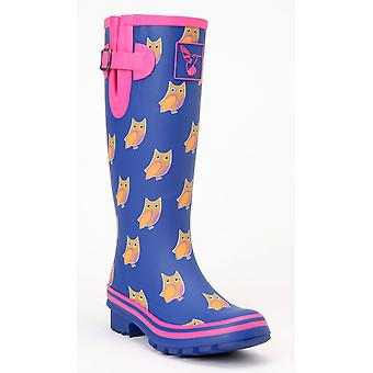 Evercreatures Ladies Rubber Wellies Owl Pattern Pink Lining - Various Sizes