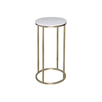 Gillmore White Marble And Gold Metal Contemporary Circular Lamp Table