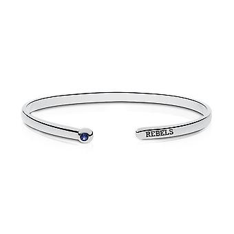 University Of Mississippi Engraved Sterling Silver Sapphire Cuff Bracelet