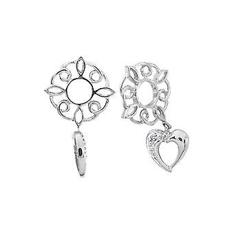 Storywheels Silver & Diamond Heart Dangle Charm S149D