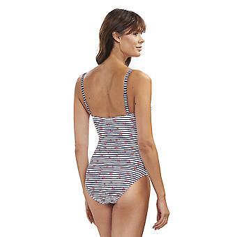 195517-16352 Femmes-apos;s Beach Ringlet Print White Striped Costume One Piece Maillot de bain