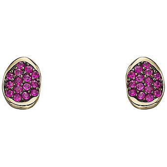 Elements Gold Pave Ruby Stud Earrings - Red/Gold