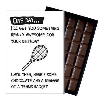 Śmieszne prezent urodzinowy dla tenisistka rude pudełkowej czekolady powitanie karty obecny OD140