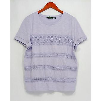 C. Wonder Top Short Sleeve Slub Knit Tee w/ Lace Stripes Purple A278457