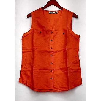 スーザン・グレーバー トップリネンブレンド ノースリーブボタンフロントシャツ オレンジ A265837