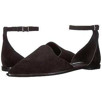 Nine West Womens Oriona Leather Pointed Toe Ankle Strap Slide Flats
