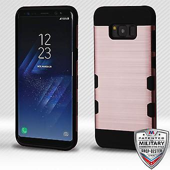 MYBAT Rose Gold/Black Brushed TUFF Trooper Hybrid Case for Galaxy S8 Plus