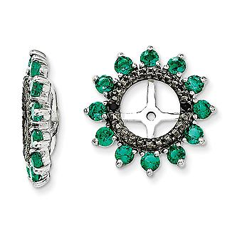 925 Sterling Silver Rhodium plated Created Emerald and Black Sapphire Earrings Jacket Jewelry Gifts for Women