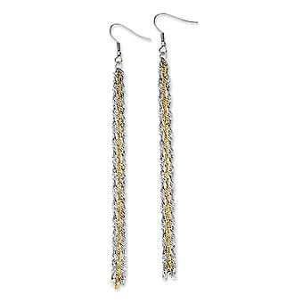 Stainless Steel Multi-strand Shepherd hook Yellow IP-plated Polished and Gold Ion-plated Long Dangle Earrings
