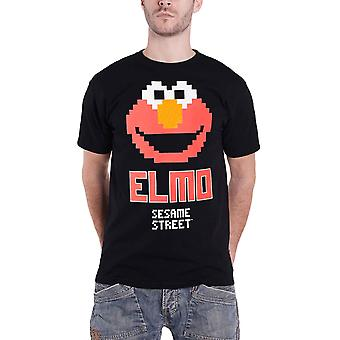 Sesame street T Shirt Elmo Pixel Logo new Official Mens Black