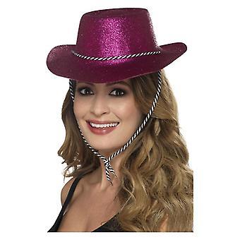 Volwassenen Pink Cowboy Glitter hoed Fancy Dress accessoire