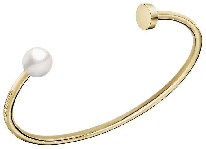 Calvin Klein Bubbly Gold Tone Stainless Steel White Pearl Open Bangle KJ9RJF14010M