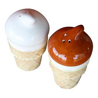 Chocolade-vanille ijs kegel Salt and Pepper Shakers