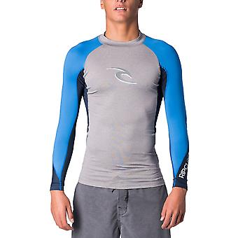 Rip Curl Wave Long Sleeve Rash Vest in Light Grey Heather
